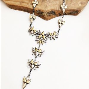 Express gold silver stone statement necklace